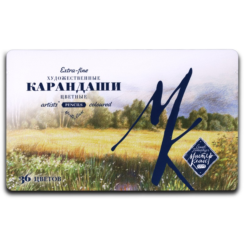 Купить Набор профессиональных карандашей цветных Мастер-Класс 36 цв, в метал. упаковке, Невская Палитра, Россия