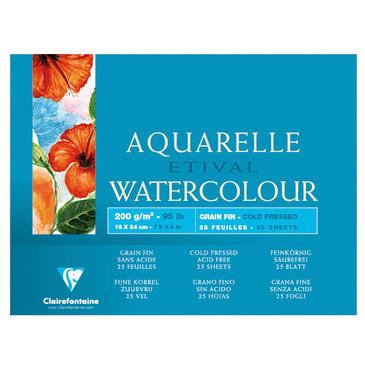 Купить Альбом-склейка для акварели Clairefontaine Etival Fin 18х24 см 25 л 200 г 100% целлюлоза, Франция
