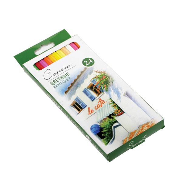 Купить Набор карандашей цветных Сонет 24 цв, Россия