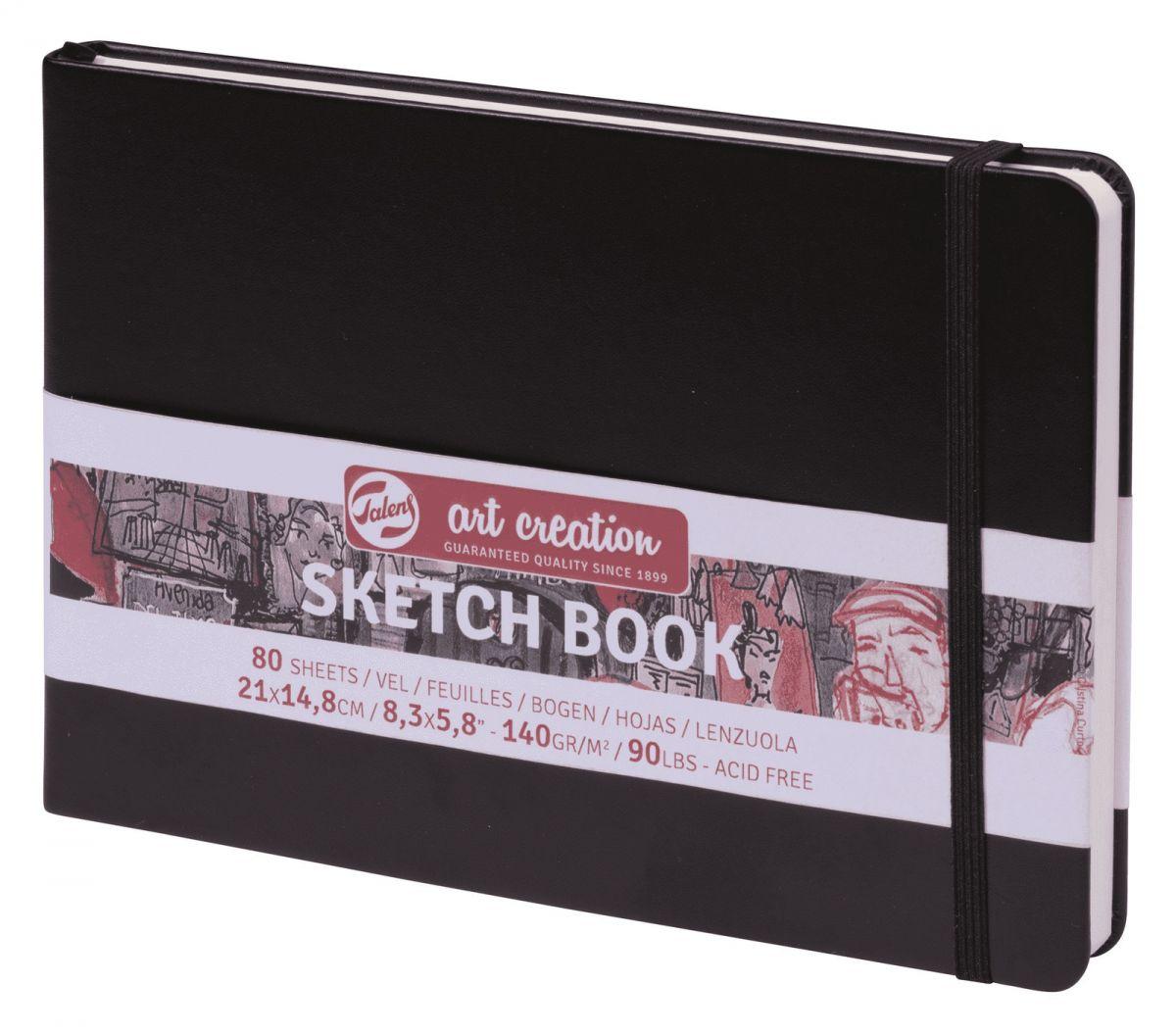 Купить Блокнот для зарисовок Art Creation Пейзаж 21х14, 8 см 80 л 140 г, твердая обложка, черный, Royal Talens