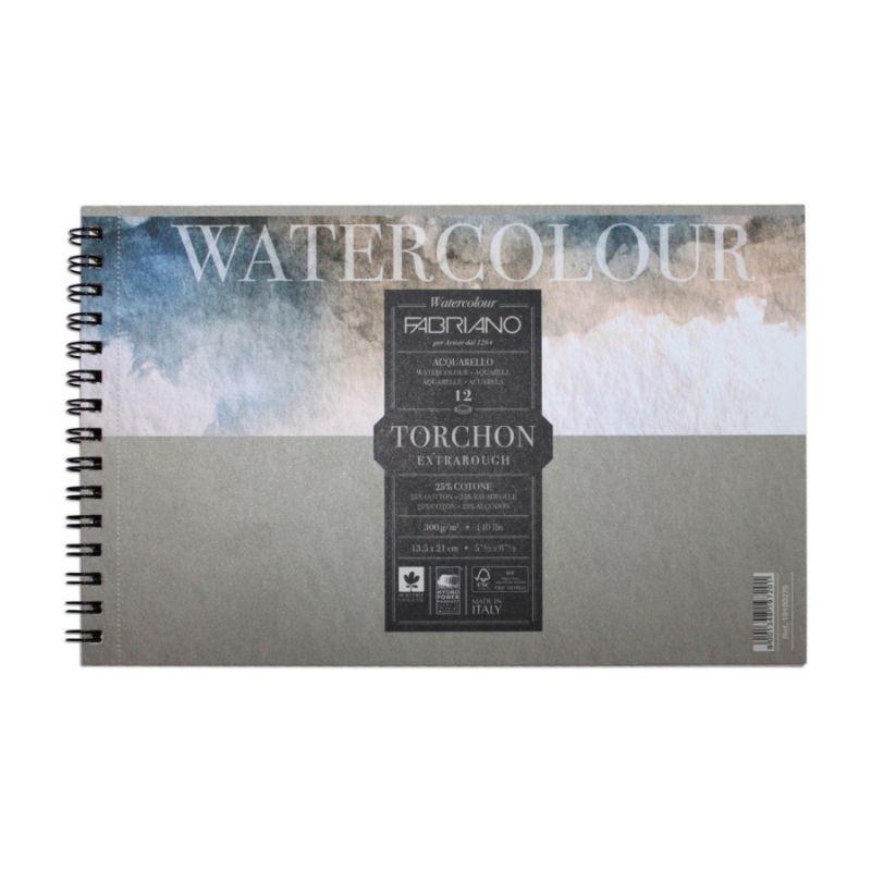 Купить Альбом для акварели на спирали Fabriano Watercolour studio Torchon 13, 5х21 см 12 л 300 г, Италия