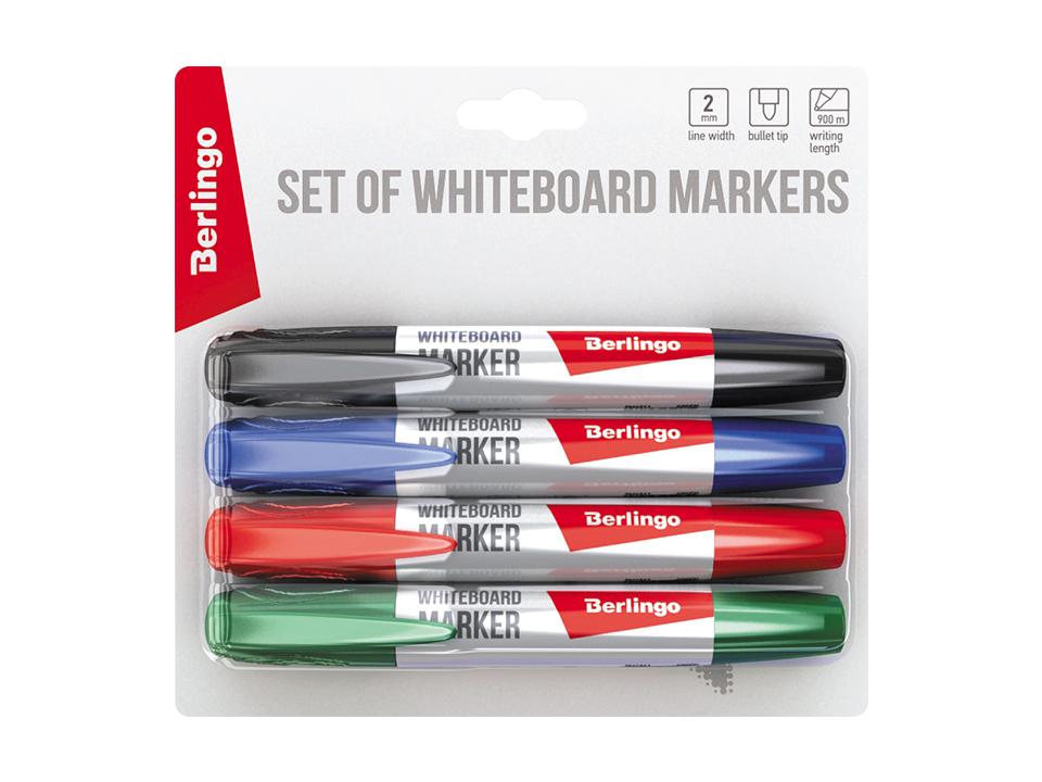 Купить Набор маркеров для белых досок Berlingo Uniline WB200 4 цв., 2 мм, пулевидный, блистер, Россия