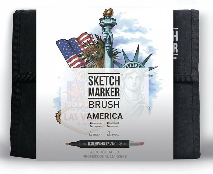 Купить Набор маркеров Sketchmarker Brush 36 America Set- Америка (36 маркеров+сумка органайзер), Япония