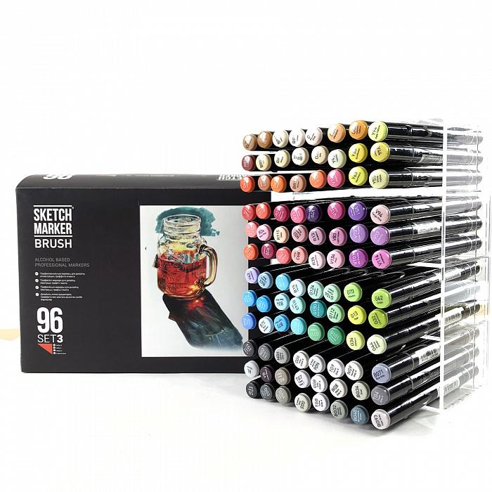 Купить Набор маркеров Sketchmarker Brush 96 Set 3- (96 маркеров в пластиковом кейсе), Япония
