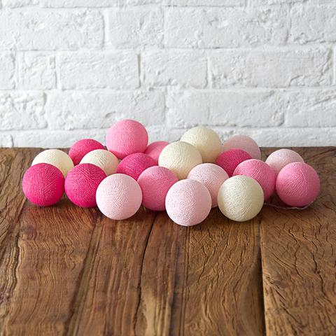 Купить Гирлянда из хлопковых шариков Lares & Penates розовая 20, от батареек, Lares & Penates