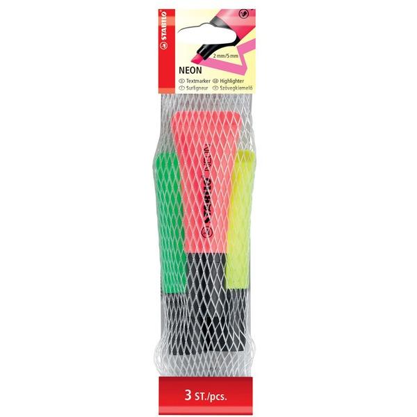 Купить Набор маркеров текстовыделителей Stabilo Neon 3 шт, Германия