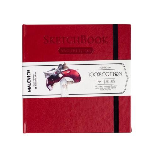 Купить Скетчбук для акварели Малевичъ 14, 5х14, 5 см 20 л 300 г, красный, Россия