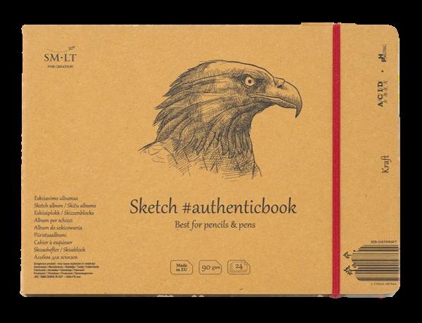Купить Скетчбук Smiltainis Kraft #authenticbook (крафт) с резинкой 24, 5x17, 6 см 24 л 90 г, Литва