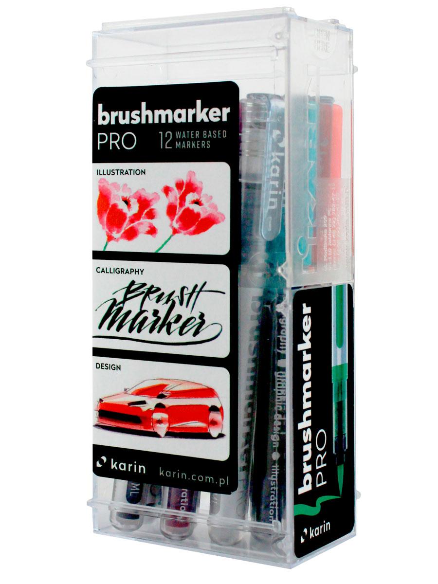 Купить Набор маркер-кистей Karin Brushmarker Pro Базовые цвета 12 цв., Польша