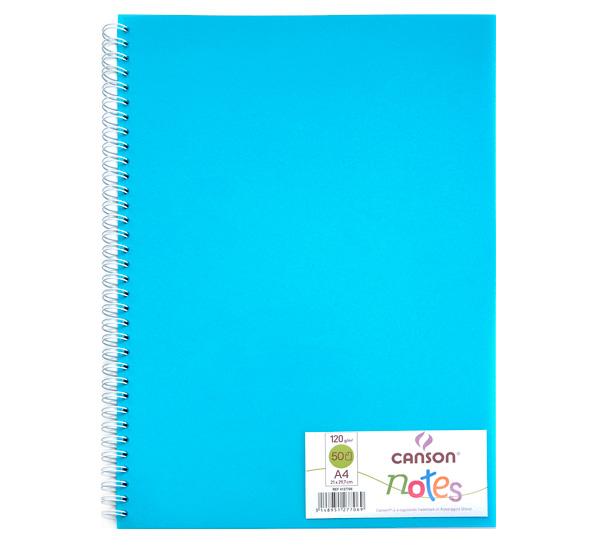 Купить Блокнот для графики на спирали Canson Notes А4 50 л 120 г, обложка пластик. голубая, Франция