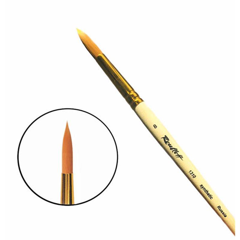 Купить Кисть синтетика №8 круглая Roubloff 1310 короткая ручка п/лак, Россия