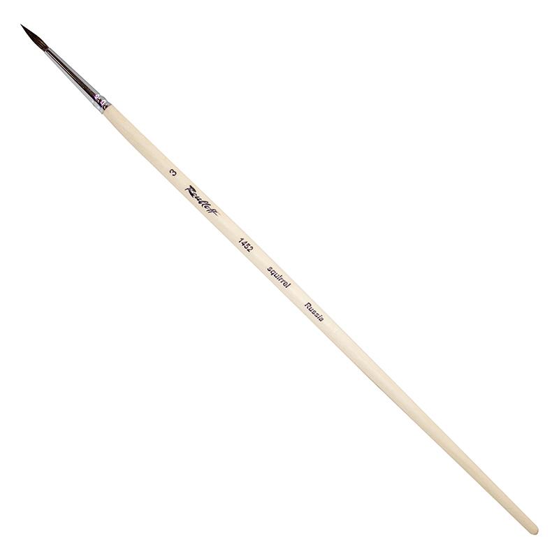 Купить Кисть белка №3 круглая Roubloff 1452 длинная ручка п/лак, Россия