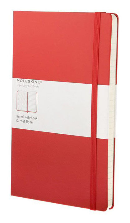 Записная книжка в линейку Moleskine Classic Large обложка красная.