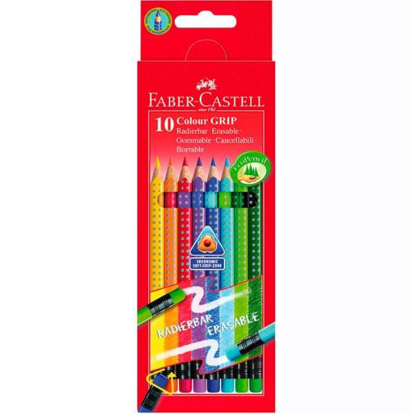 Купить Набор карандашей цветных Faber-castell Grip-2001 10 цв с ластиками в картоне, Faber–Сastell, Германия