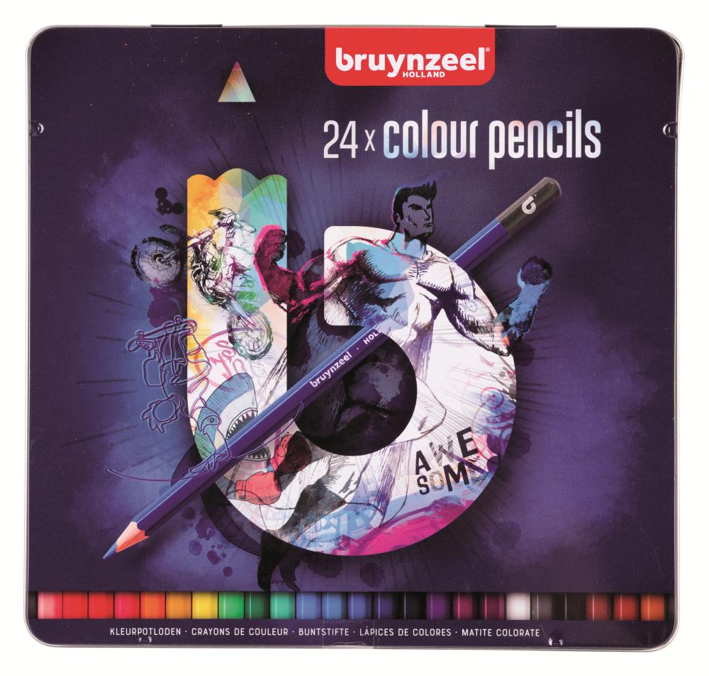 Купить Набор карандашей цветных Bruynzeel 24 шт в металлической коробке, синяя
