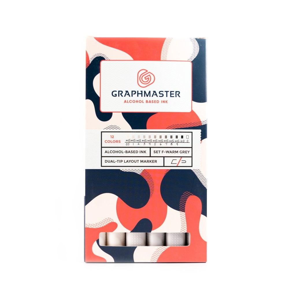 Купить со скидкой Набор спиртовых маркеров Graphmaster F 12 цветов теплые серые тона