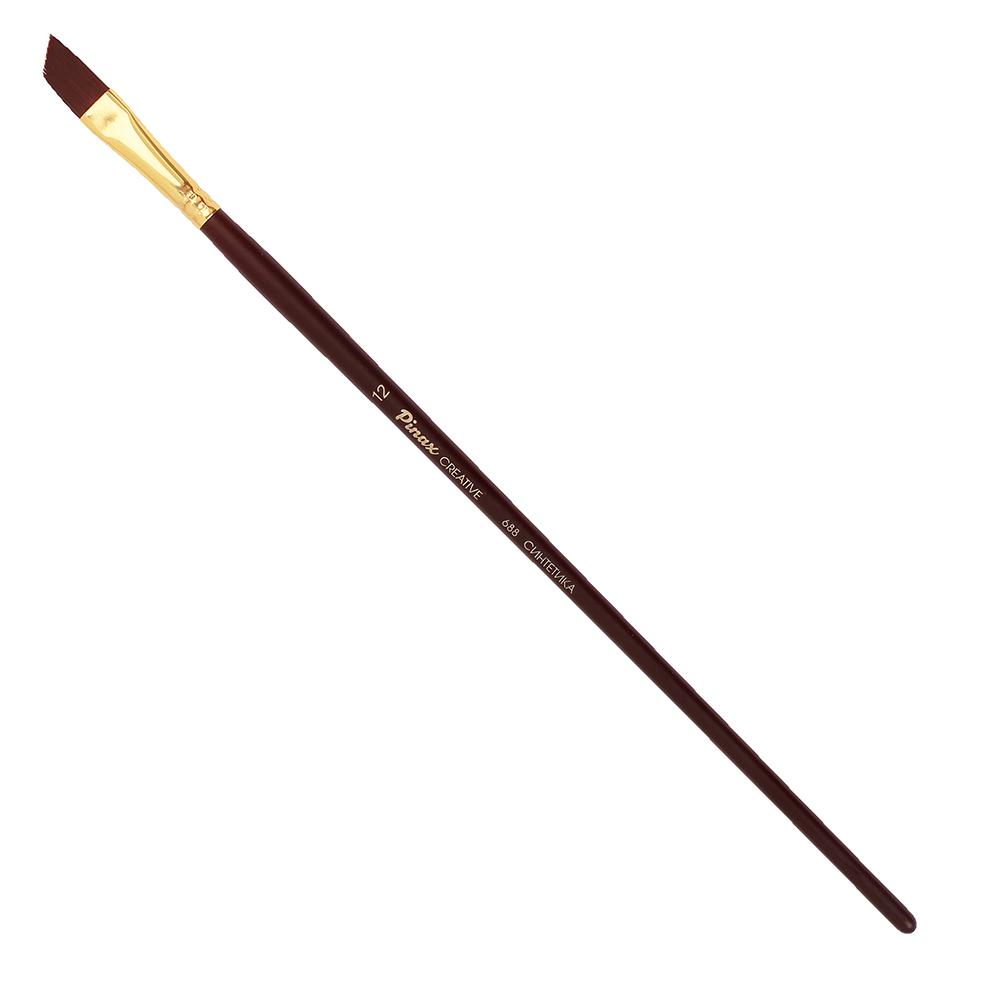Купить Кисть синтетика скошенная Pinax Creative 688 жесткая, длинная ручка, Китай
