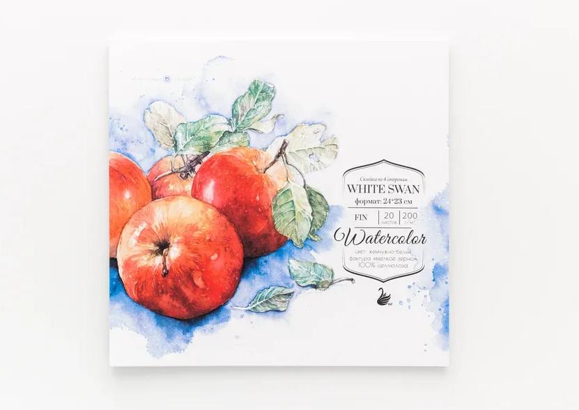 Склейка для акварели White Swan , Fin, 200 г/м2, 24х23 см, 20 л, Малевичъ, Китай  - купить со скидкой
