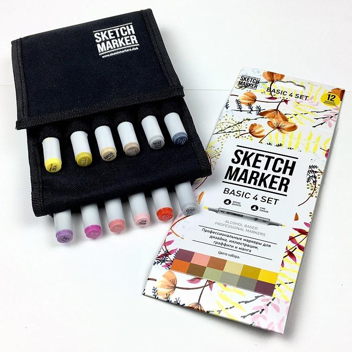 Купить Набор маркеров Sketchmarker Basic 4 set 12 Базовые оттенки сет 4 (12 маркеров + сумка органайзер), Япония