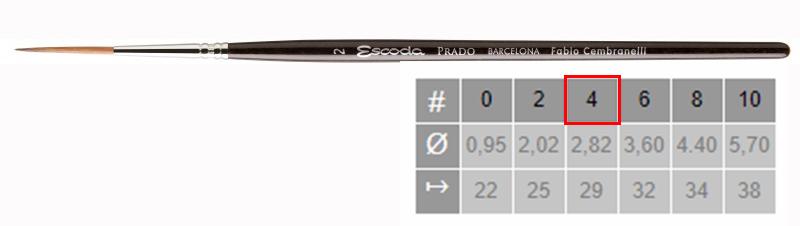 Купить Кисть синтетика №4 круглая удлиненная Escoda Prado 1469 короткая ручка, Испания
