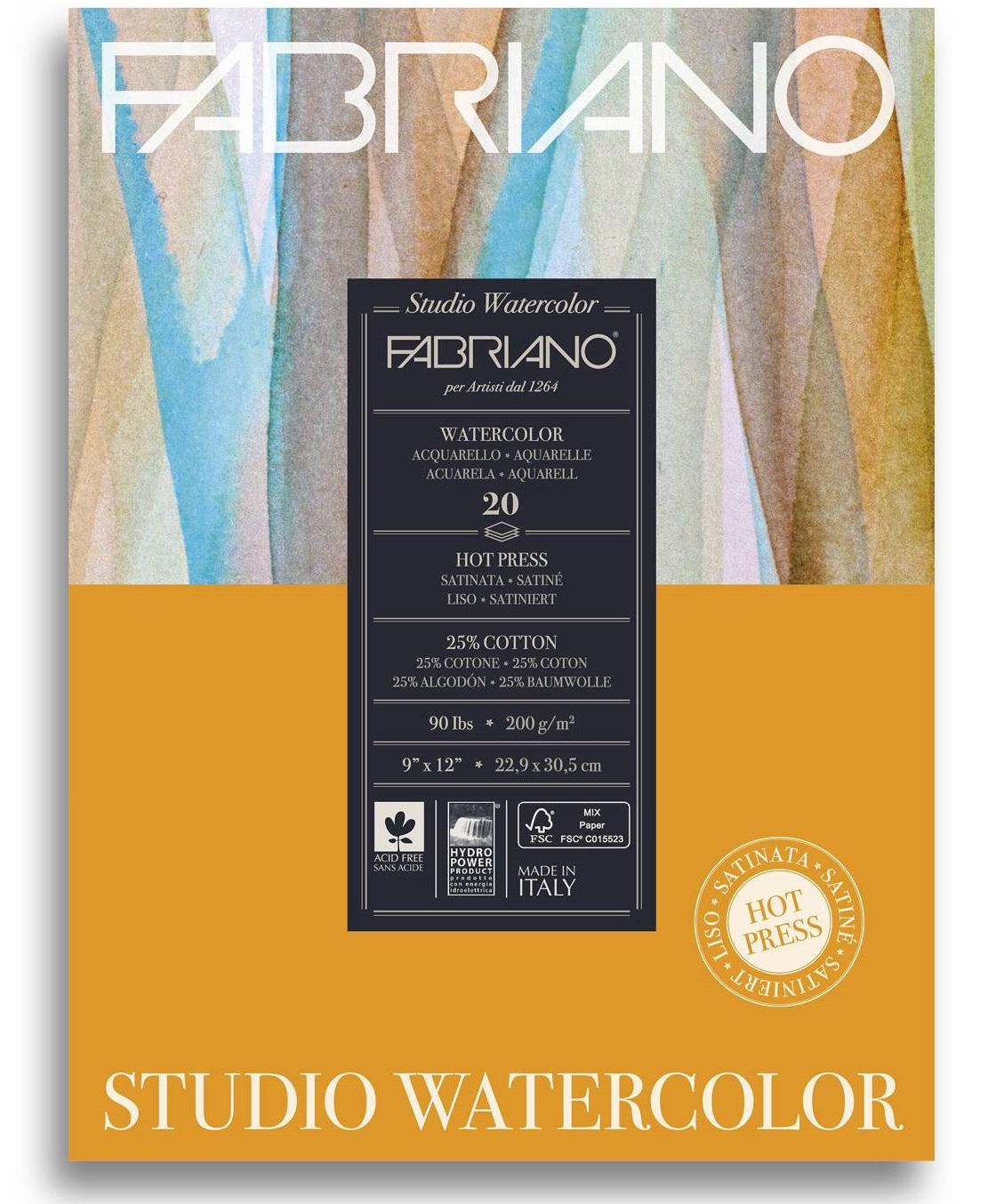 Купить Альбом-склейка для акварели Fabriano Watercolour studio Satin 20, 3x25, 4 см 12 л 300 г, Италия