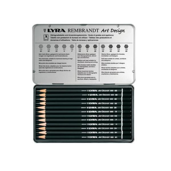 Купить Набор карандашей чернографитных Lyra Art Desing 12 шт в металл коробке, Германия