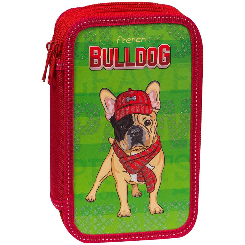 """Пенал 2 отделения ArtSpace """"Bulldog"""" 190*115 мм, ламинированный картон, конгрев, блестки"""