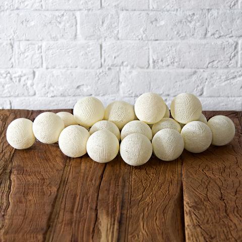 Купить Гирлянда из хлопковых шариков Lares & Penates кремовая 20, от батареек, Lares & Penates