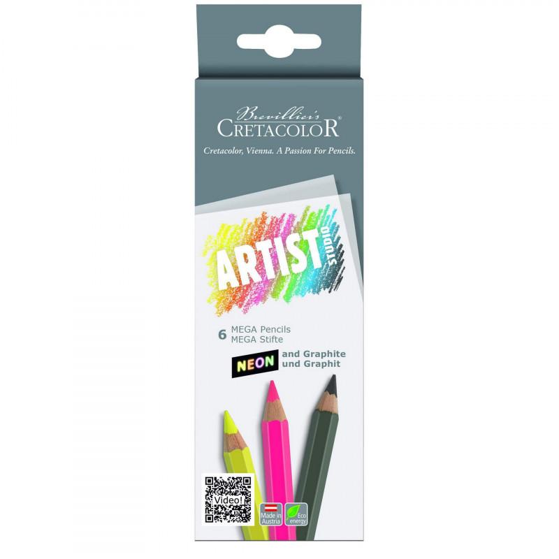 Купить Набор карандашей цветных Cretacolor Artist Studio Line 5 неоновых цветов + 1 графитовый HB, Австрия
