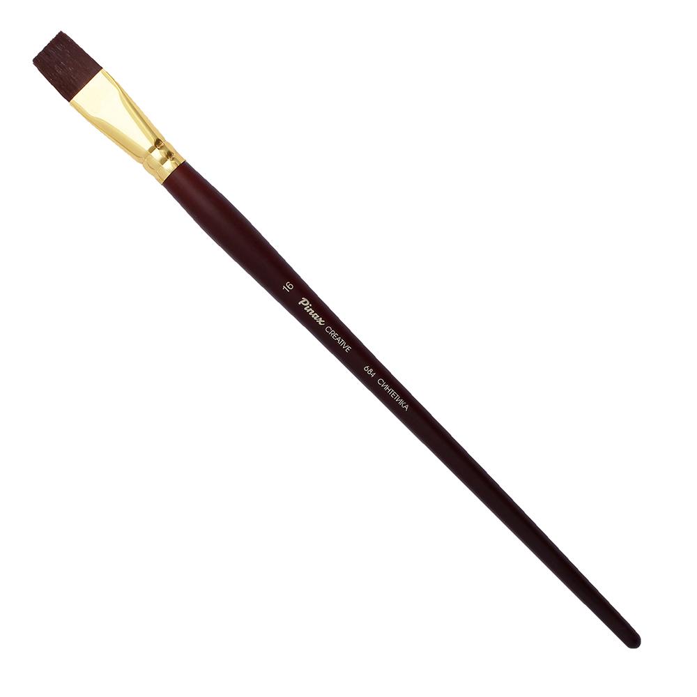 Купить Кисть синтетика №16 плоская Pinax Creative 684 жесткая, длинная ручка, Китай
