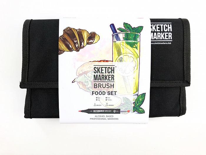 Купить Набор маркеров Sketchmarker Brush 24 Food Set- Еда (24 маркеров+сумка органайзер), Япония
