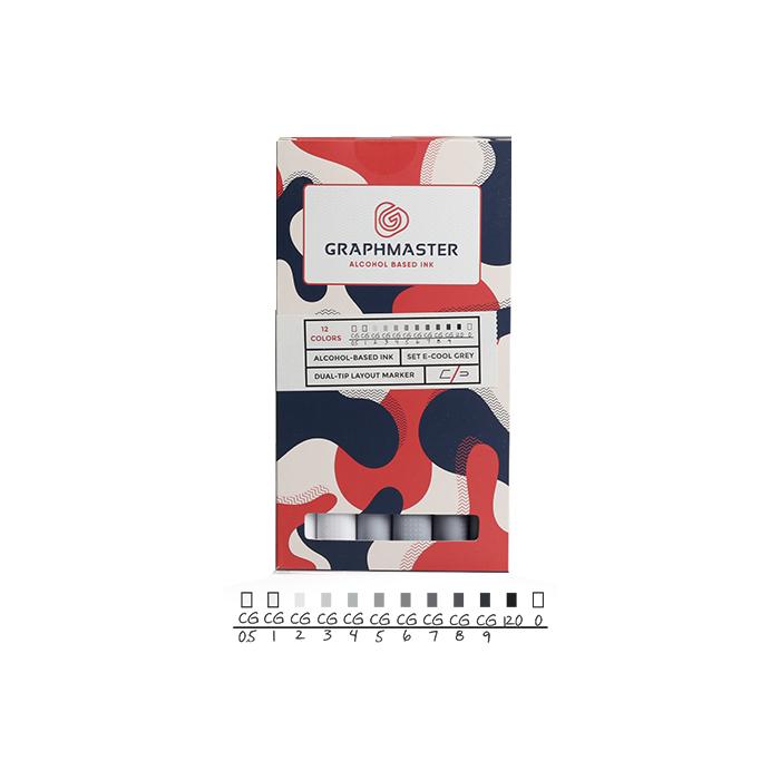 Купить Набор спиртовых маркеров Graphmaster E 12 цветов холодные серые тона, Германия