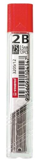 Купить Набор грифелей для механического карандаша Stabilo 12 шт 0, 5 мм, 2В, Германия