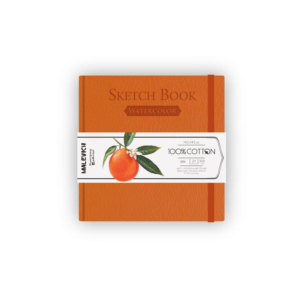 Купить Скетчбук для акварели Малевичъ 14, 5х14, 5 см 20 л 300 г, оранжевый, Россия