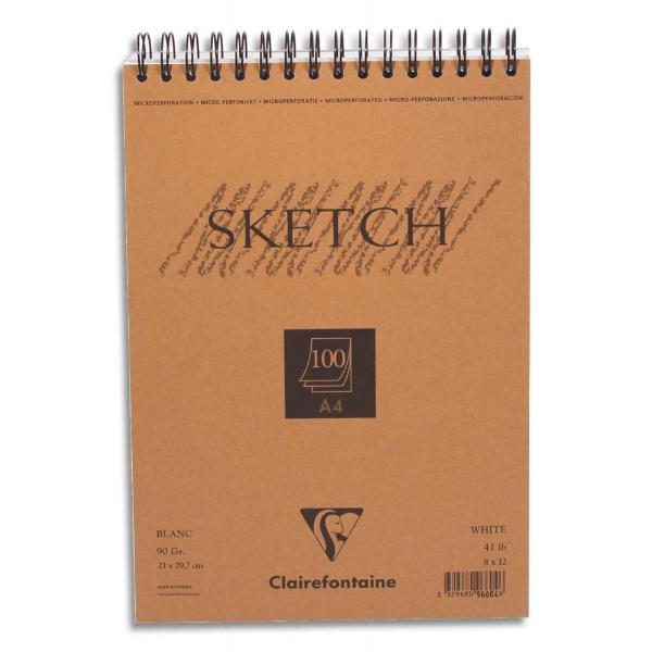 Купить Блокнот для эскизов на спирали Clairefontaine Sketch А3 100 л 90 г, с микроперфорацией, Франция