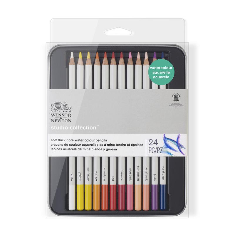 Набор карандашей акварельных Winsor & Newton 24 цветов, в металлической коробке