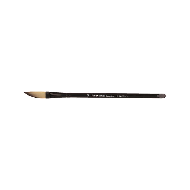 Купить Кисть синтетика №12 даггер лайнер Pinax HI-TECH 919 короткая ручка, акрил, Китай