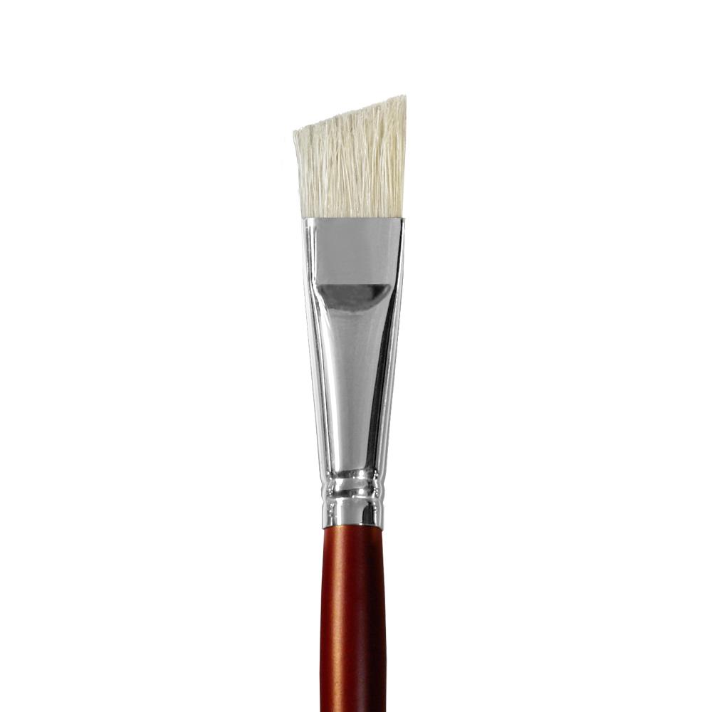 Купить Кисть щетина №16 плоская скошенная Альбатрос Студио длинная ручка, Россия