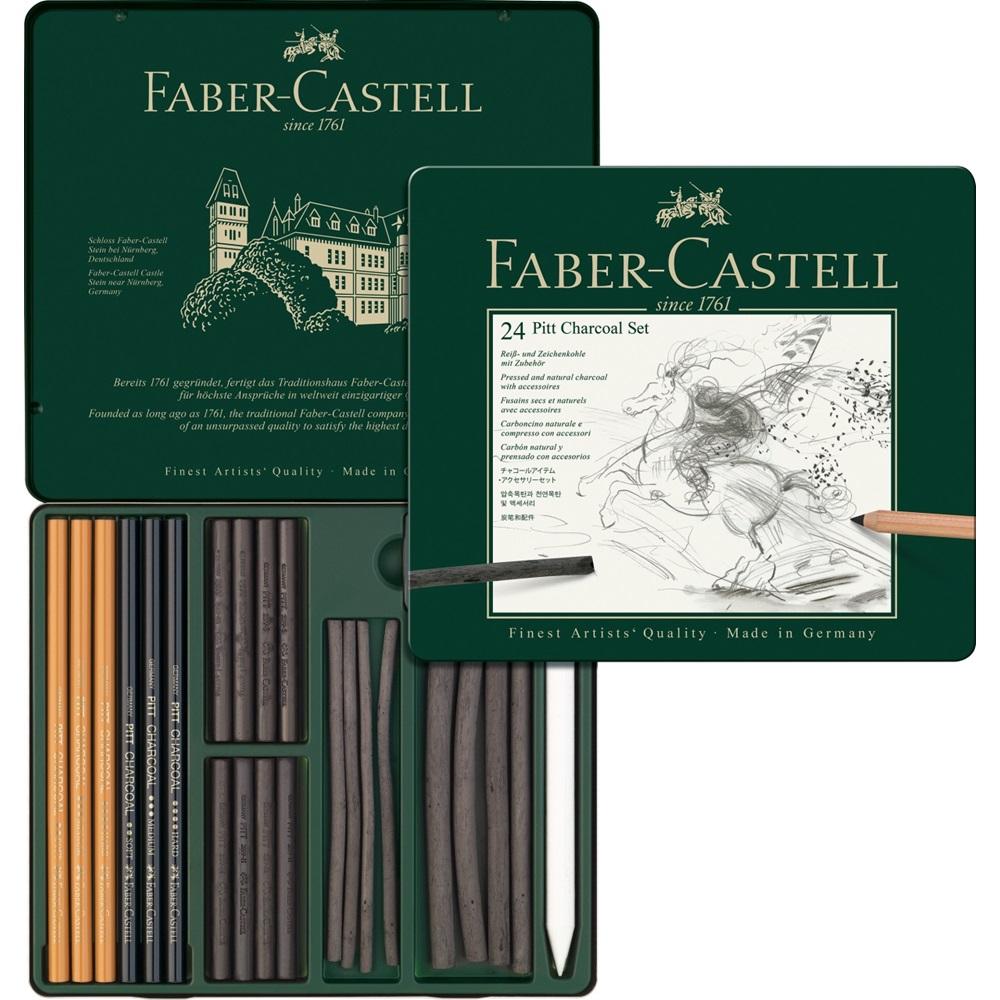 Купить Набор угля и угольных карандашей Faber-castell Pitt Chorcoal 24 предмета, металлическая коробка, Faber–Сastell, Германия