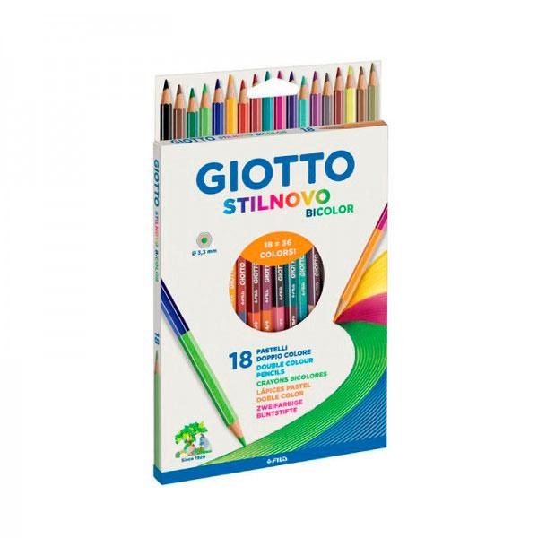 Купить Набор карандашей цветных гексогональных, двусто Fila Giotto Stilnovo Bicolor Ast 36 цв 18 шт, Италия