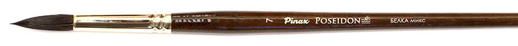Купить Кисть белка микс №7 круглая Pinax Poseidon 801 длинная ручка, Китай