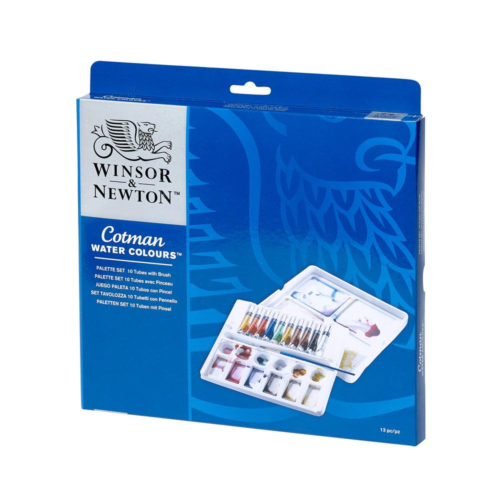 Купить Набор акварели Winsor&Newton Cotman 10 цв*8 мл + кисть+ палитра, Winsor & Newton