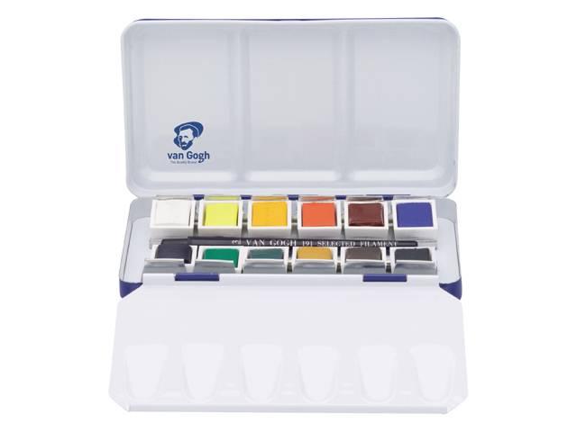Купить Набор акварели Talens Van Gogh National Gallery 12 цв в кюветах, металлическая коробка, Royal Talens