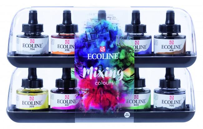 Купить Набор акварели Talens Ecoline 10 шт*30 мл основные цвета, в картонной коробке, Royal Talens