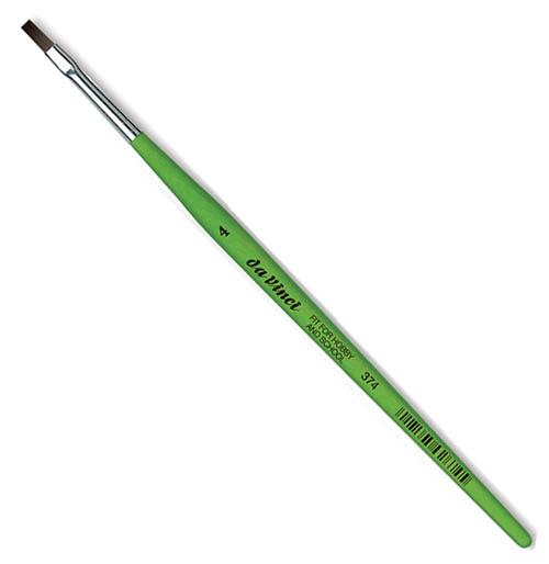 Купить Кисть синтетика №4 плоская Da Vinci 374 короткая ручка, Германия