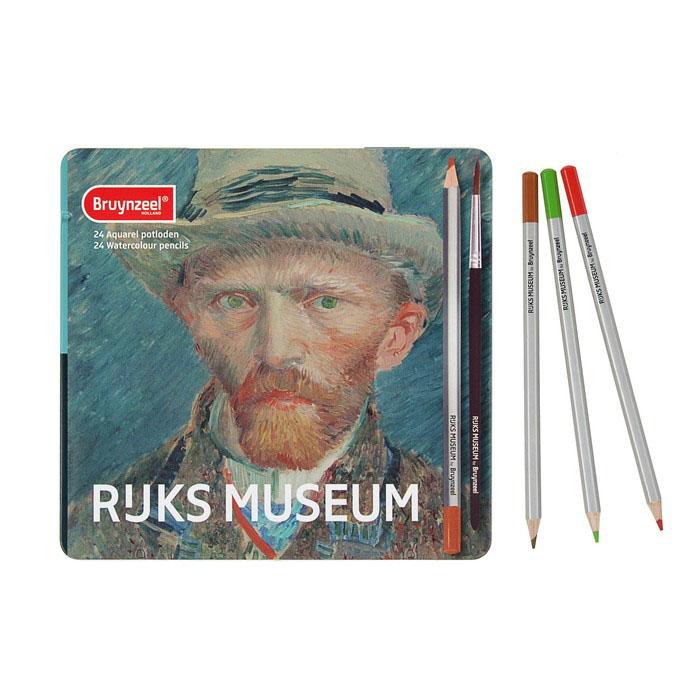 """Набор карандашей акварельных Bruynzeel """"Rijks Museum"""" Ван Гог """"Автопортрет"""" 24 цв, в метал кор"""