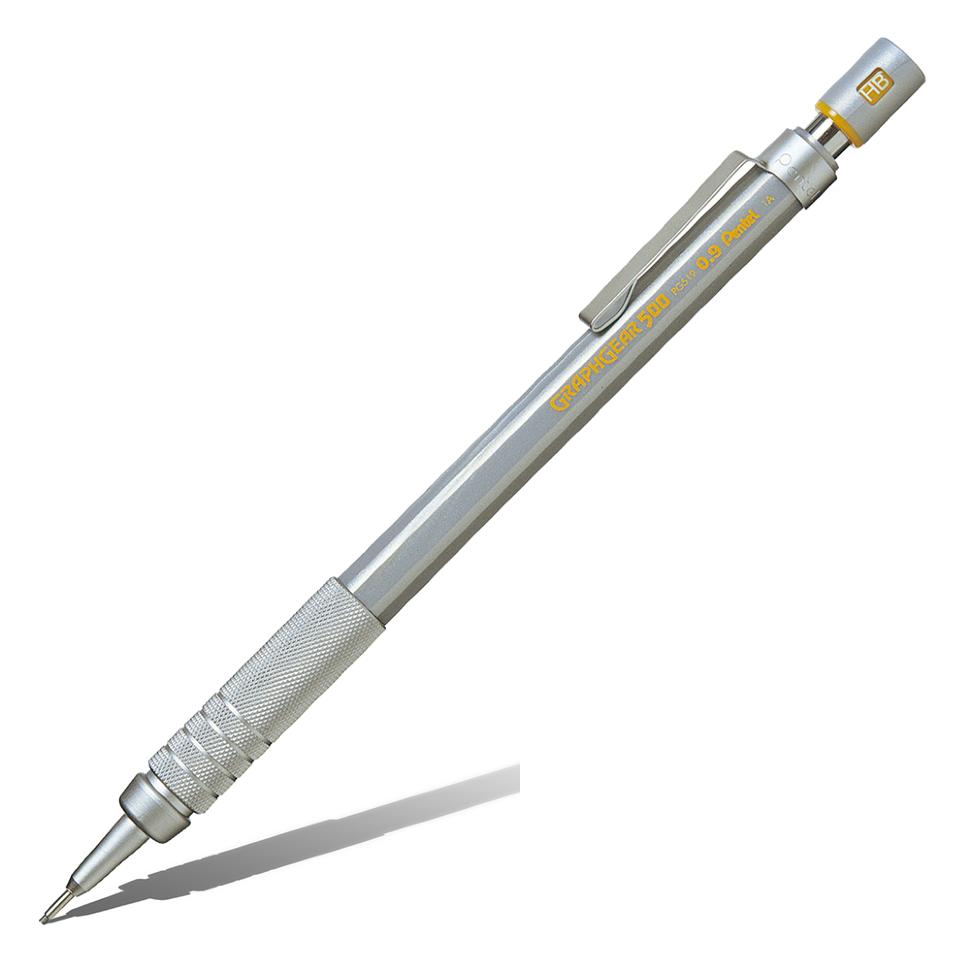 Купить Карандаш механический Pentel Graphgear 500 0, 9 мм, корпус серебряный, Япония