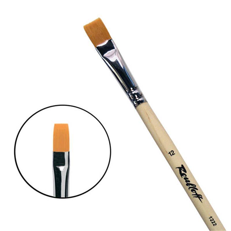 Купить Кисть синтетика №12 плоская Roubloff 1222 длинная ручка п/лак, Россия