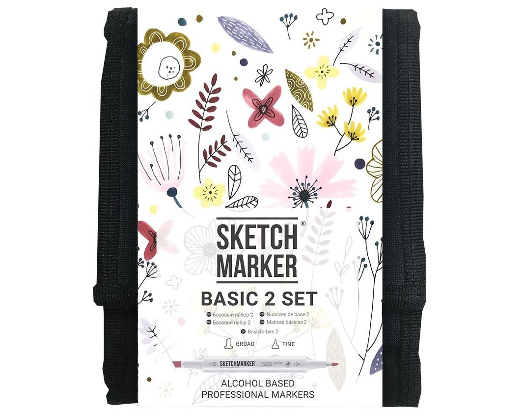 Купить Набор маркеров Sketchmarker Basic 2 set 12 Базовые оттенки сет 2 (12 маркеров + сумка органайзер), Япония