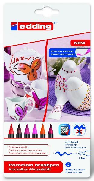 Купить Набор фломастеров для керамики Edding 6 шт 1-4 мм теплых оттенков, Германия